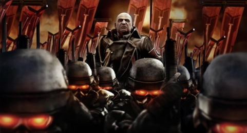 The PlayStation game series, Killzone, does a great job of disguising the space Nazi trope.