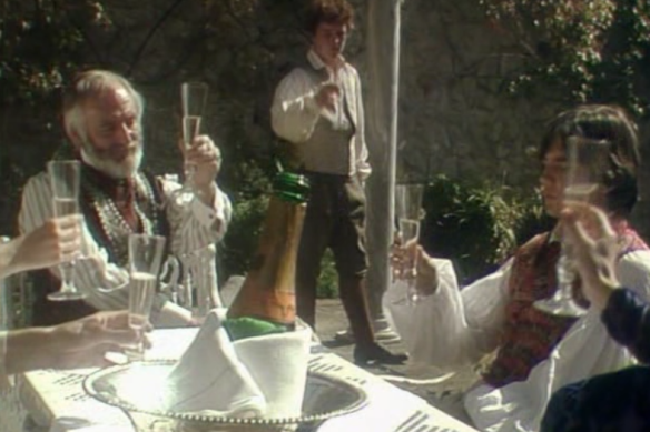 Will and his friends drinking champange in 1984's tripods